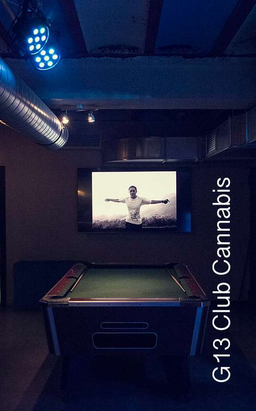 g13 cannabis club pool table and tv for g13 club cannabis